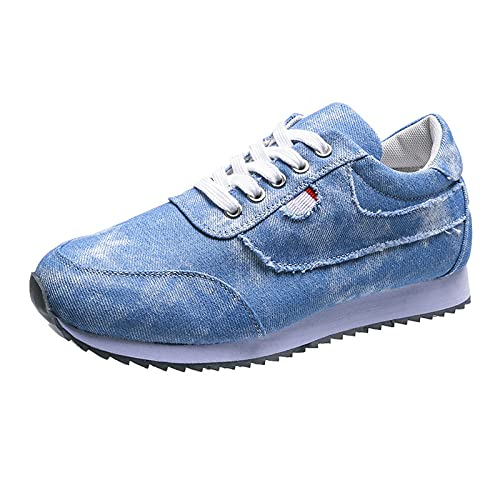 Women's casual Running Shoes - Fashion, Lightweight Breathable - Denim Sports Sneakers(Blue,43)