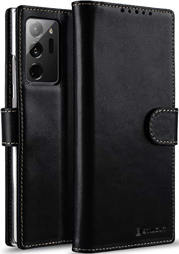 StilGut Funda Compatible con Samsung Galaxy Note 20 Ultra, Carcasa Cartera con Tarjetero y Abertura Lateral del Piel auténtica, Negro Nappa