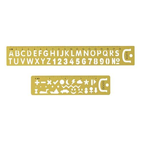 Amupper Buchstaben-Zahlen-Vorlagen, Lineal, tragbare Metall-Lesezeichen-Schablonen mit viel Glück