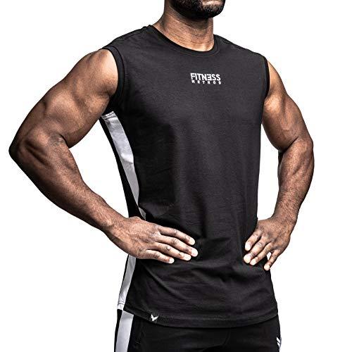 Fitness Method® Tank Top Herren, INNOVATIVES Achselshirt für Sport und Freizeit - Ärmelloses Shirt, Unterhemd,Sleeveless T-Shirt, Tanktop (Schwarz - Weiß, L)
