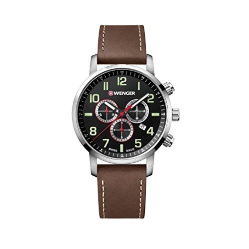 WENGER Reloj Cronógrafo para Unisex de Cuarzo con Correa en Cuero 01.1543.103