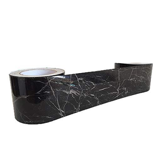 NBWS meubelfolie plakfolie, verwijderbehang, vinyl zelfklevend decorfolie raamsticker PVC sticker voor meubels keuken keukenkast - zwart en wit 12*100cm zwart