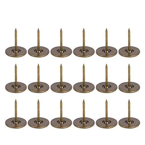 Uñas de tapicería 100Pcs, Cabeza Plana Hierro de Bronce Cian Redondo Muebles Antiguos Clavos Alfileres Surtido de Cabeza Grande Tachuelas de tapicería Antiguas(Diameter 16mm)