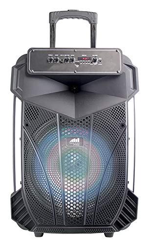 Naxa Electronics Portable Bluetooth Party Speaker with Disco Light, 15-inch, Black