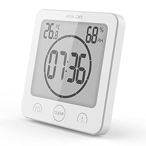 Horloge Salle Bain, Horloge Température et D'humidité avec écran LCD Réveil Numérique étanche Contrôle Tactile ℃/℉ Température de l'humidité Compte à Rebours 3 Méthodes Montage Alimentation Batterie