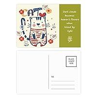 漫画のかわいい猫の鳥の花のスケッチ 詩のポストカードセットサンクスカード郵送側20個