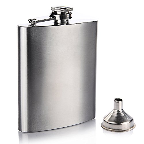 Lihao Flasque avec entonnoir en acier inoxydable 198,4 gram 196 ml Argent lisse