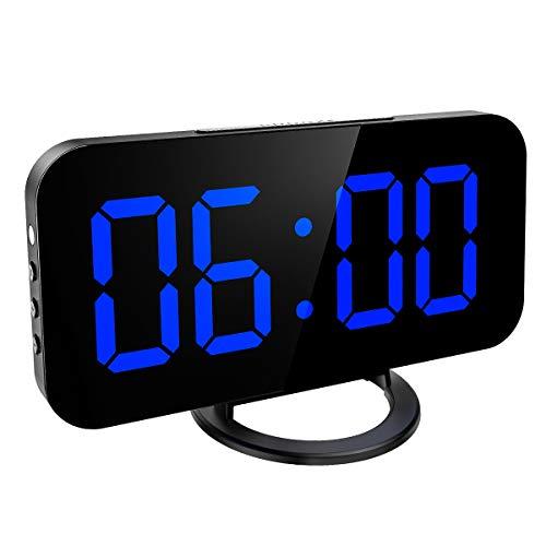 Criacr Digitale Wekker, Spiegel Wekker met Dubbele USB-Opladerpoort, Digitale LED-klok met Sluimerfunctie, 12H / 24H Indeling, Automatische/Handmatige Helderheid Instelbaar voor Thuis, Kantoor