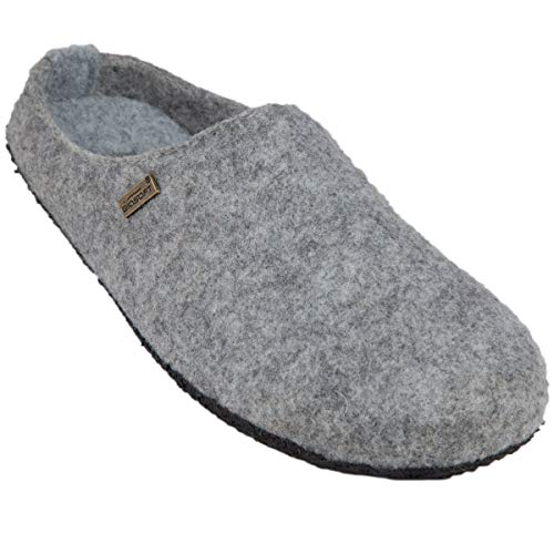 BIOSOFT Lady Cosy Damen Woll-Filz Slipper Pantoffeln Frauen Freizeit Hausschuh | Schlüpfschuh | Pantolette | Schlappen | Hüttenschuh - Gr. 37-41 - 37 grau