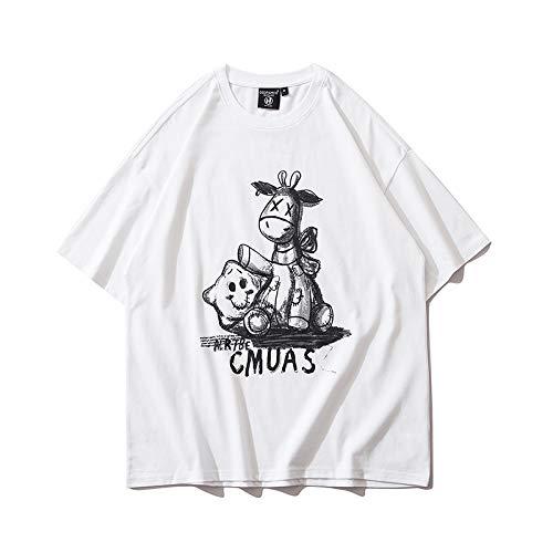 DREAMING-Una Sudadera De Manga Corta De Verano De Camisas con Camiseta De Algodón De Cuello Redondo Estampada Suelta para Hombres Y Mujeres Camisas De Parejas White Medium