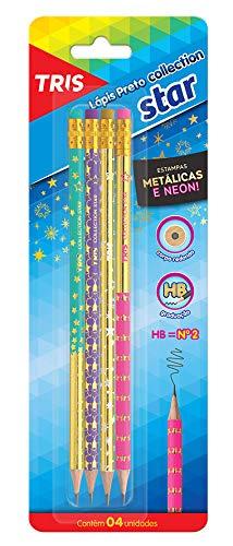 Lapis Preto Collection Star com Borracha Cartela 4 Unidades