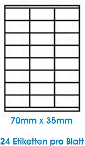 2400 stuks. WHITE Zelfklevende etiketten zelfklevende adresetiketten etiketformaat 70.0x35.0mm, 100 vel DIN A4, 70g/qm, geschikt voor inkjetprinters, laserprinters en kopieerapparaten.
