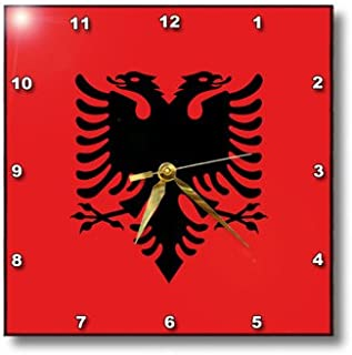 3dRose dpp_159836_3 Flag of Albania-Albanian Black Double Headed Eagle on Red-Balkans Eastern Europe European World-Wall Clock, 15 by 15-Inch