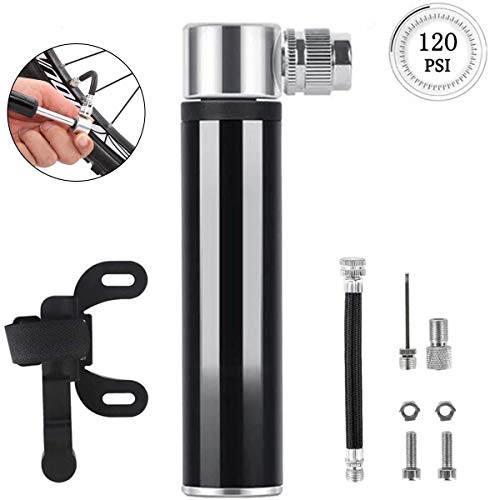 VARWANEO Bike Pump Portable Mini Bicycle Pump 120 PSI-Fits Presta and Schrader Ball Pump with Needles Super Fast Tyre Inflation Frame Mounted Air Pump for Road, Mountain Bikes,Basketball(Black)