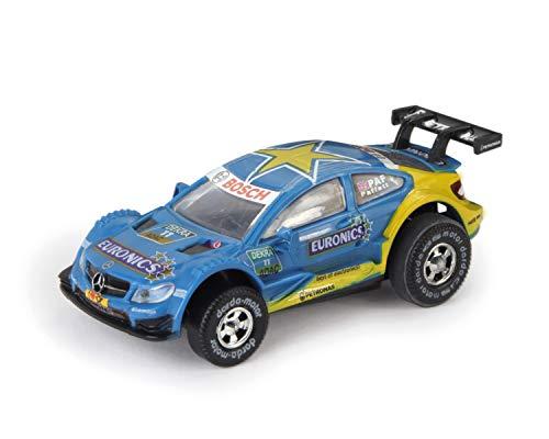 Darda 50387 Auto Mercedes-Benz C-Coupé DTM Paffett, Rennauto mit auswechselbaren Rückzugsmotor, Fahrzeug mit Aufziehmotor, Rückziehauto für Rennbahnen, für Kinder ab 5 Jahre, ca. 8 cm, blau