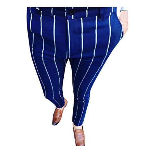 TEELONG Hosen Herren Mode lässig Business Slim Fit Striped Print Reißverschluss Lange Hosen HosenJogginghose Trainingshose Trainingsanzüge Overalls Fleece-Hose(Blau, M)