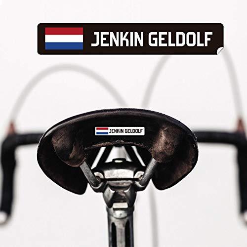 Kit 9 stickers met personaliseerbare vlag, tekst en kleur, voor fietsen, moto's, auto's en andere voorwerpen