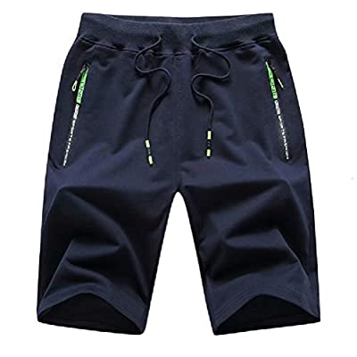 Tansozer Men's Casual Shorts Elastic Waist Comfy Workout Shorts Drawstring Summer Jogger Shorts with Zipper Pockets (Navy Blue, XXX-Large)