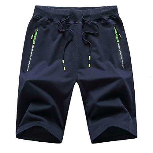 Tansozer Men's Casual Shorts Elastic Waist Comfy Workout Shorts Drawstring Summer Jogger Shorts with Zipper Pockets (Navy Blue, Large)