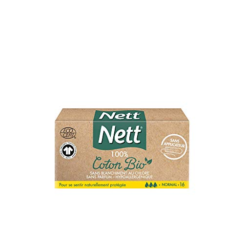 Nett Coton Bio Tampon sans Applicateur, Normal, Boite de 16 Tampons