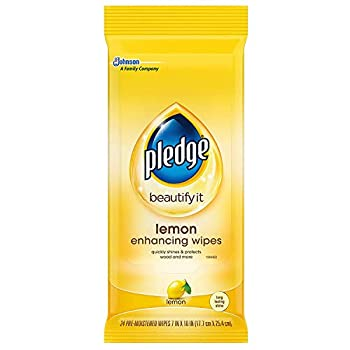 Pledge Multisurface Furniture Polish Wipes Works on Wood Granite and Leather Cleans and Protects Lemon - Pack of 6  72 Total Wipes