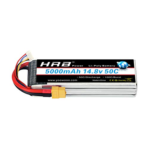 HRB 4S 14.8v 5000mAh 50C Lipo Battery XT60 Connector for RC Airplane, RC Helicopter, RC Car/Truck, RC Boat (6.1 x 1.89 x 1.26 Inch)