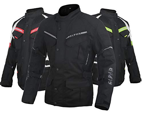 ACG ADVENTURE MOTORCYCLE JACKET MEN FOR TOURING CE ARMOR WATERPROOF ALL SEASON BIKER RIDING (BLACK, LARGE)