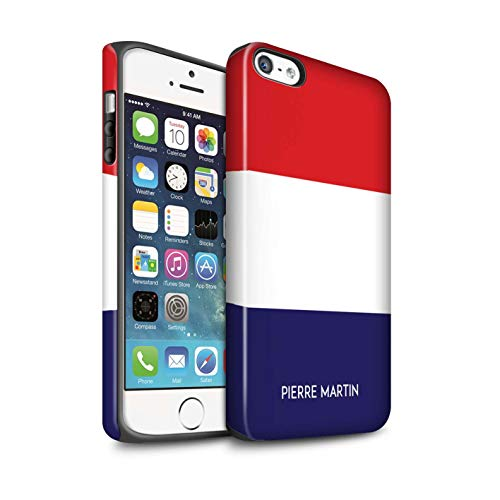 eSwish Personalisiert Individuell National Nation Flagge Matte Zähen Hülle für Apple iPhone SE/Frankreich/Französisch Design/Initiale/Name/Text Stoßfest Schutzhülle/Case/Etui