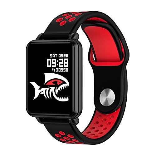 ZOZIZZ Smart Watch, Detector de Ritmo cardíaco de la presión Arterial Toque Fitness Fitness Fitness Mensaje IP68 Impermeable para Android y iPhone Teléfono,Rojo