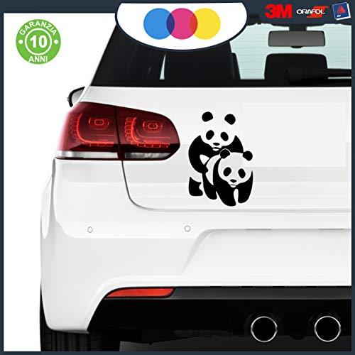 mural stickers Par de adhesivos Panda para coche, moto, scooter, caravana, muebles, paredes, reflectantes, antiarañazos, simpáticos adhesivos de vinilo WWF, 12 x 18 cm, blanco y negro