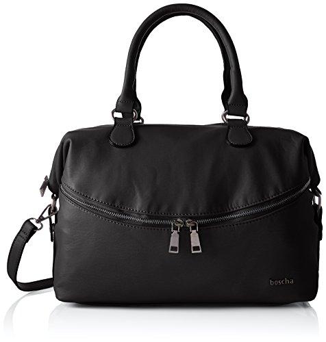 Boscha Damen Zip Bag Henkeltasche, Schwarz (Black), 15x24x35 cm