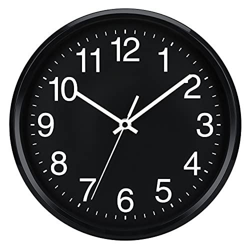 Plumeet 25cm Orologio da Muro Silenzioso con Numero Grandi E Graziosi e Movimento Digitale Senza Ticchettio, Orologi da Parete Design Moderno Ottimo per la Camera da Letto e la Cucina (Nera)