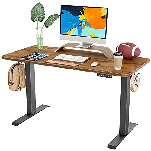 FAMISKY Standing Desk Dual Motors, Adjustable Height Electric Stand up Desk, 40 x 24 Inches Sit Stand Home Office Desk, Ergonomic Workstation Black Steel Frame/Rustic Brown Wood Tabletop