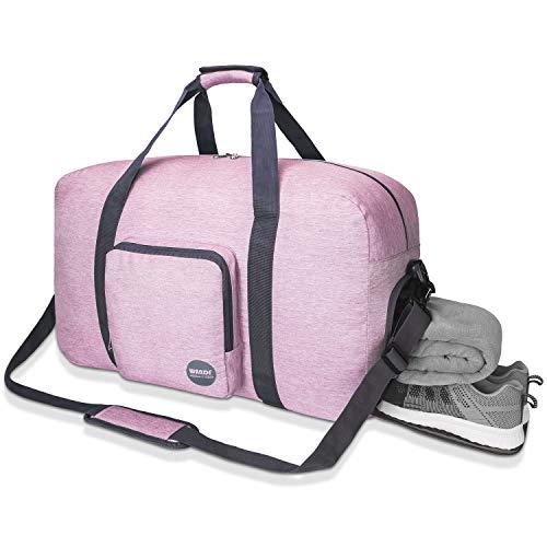 24' Foldable Duffle Bag 60L for Travel Gym Sports Lightweight Luggage Duffel By WANDF (24 inches (60 Liter), Pink Denim24')
