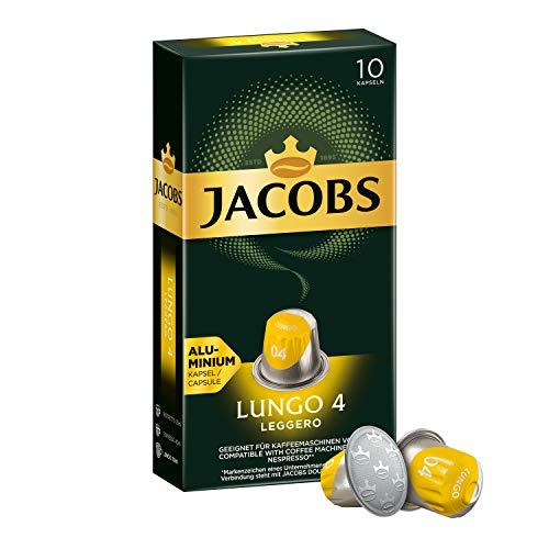 Jacobs Kaffeekapseln Lungo Leggero, Intensität 4 von 12, 10 Nespresso®* kompatible Kapseln, 1 x 10 Getränke