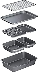 SEVEN-PIECE BAKING SET: includes a roasting pan, square cake tin, loaf pan, muffin tin, cooling rack, and a small and large baking tray CLEVER NESTING DESIGN: enjoy a full bakeware collection without compromising on space - all pieces stack neatly in...