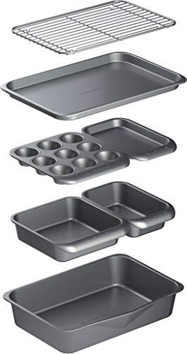 MasterClass, 7-Teiliges Backformenset, Antihaftbeschichtet, Stapelbar: Bratpfanne, Quadratische Kuchenform, Kastenbrotform, Muffinschale, zwei Backbleche und Kühlregal, Geschenkbox