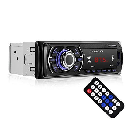 Radio para coche MP3, LESHP Reproductor MP3 autoradio 1 din FM, Bluetoothe, USB, AUX, 4 x 60 w altavoces estéreos con ecualizador para salpicadero del coche