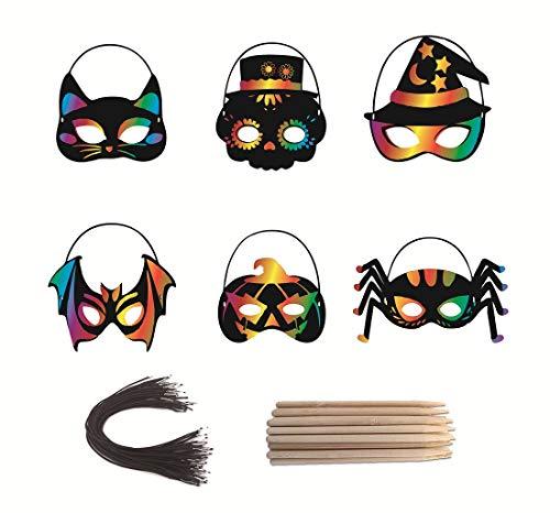 Kratzbilder Maske,36 Stück Kinderkratzbildschirmhandwerk mit elastischer Schnur und Bambusstift für Party Karneval Cosplay Weihnachten Tierische Themen