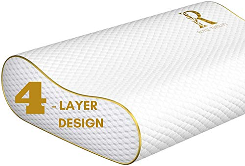 Royal Therapy 4-Layer Queen Memory Foam Pillow, Neck Pillow Bamboo Adjustable Side Sleeper Pillow