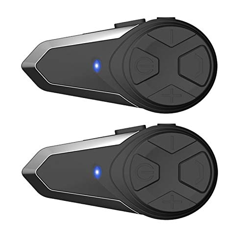 BT-S3 Motorcycle Bluetooth intercom, Off-Road Motorcycle Helmet Bluetooth Headset 1000m Bluetooth Communication System Connect up to Three People Two People Talk at The Same time (2 Pack)