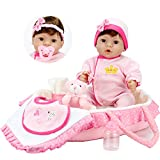 Aori Reborn Baby Dolls 18 inch Lifelike Vinyl Weighted Girl Doll,9-Piece Gift Set with Pink Carrier Bed