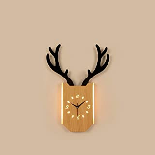 18W LED Antler Wall Lamps 3000K-6500K Dimmable with Remote Control - Nordic Modern Minimalist wall Hanging Silent Clock with Lights - Wall Sconce for Bedroom Dining Room ( Color : Wood color )