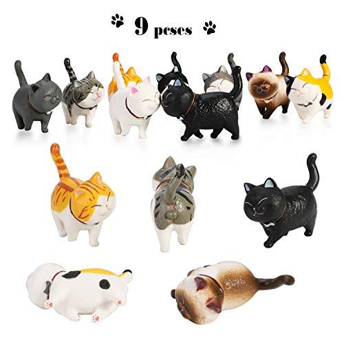 PHOGARY 9PCS Figuras de Gatos realistas, Set de Juguetes de Figuras de Gatitos, Gatito Huevos de Pascua Cake Topper Regalo de cumpleaños de Navidad para niños niños niñas niños Amante de los Gatos