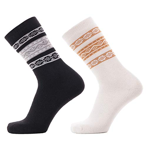 KOLD FEET Women's Merino Wool Warm Casual Socks Thick Knit Winter Cabin Cozy Crew Socks Gifts 2 Pairs (Asst39, Medium)