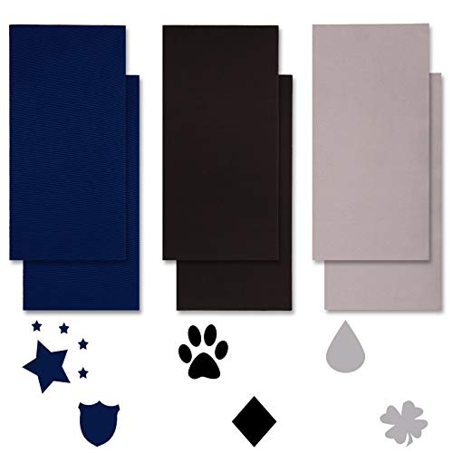 Whaline Nylon Repair Patches 3 Colors Self-Adhesive Down Jacket Patches 7.9 x 3.9 Waterproof Tent Repair Stickers Repair Tapes for Sleeping Bag Clothing Holes, 6 Pieces (Black, Gray, Dark Blue)