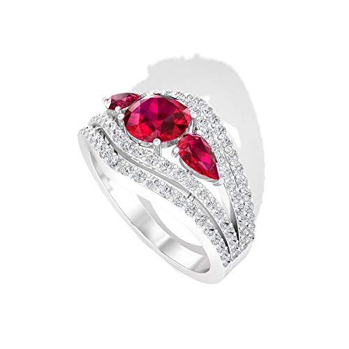Anillo de diamante y rubí de 2,42 quilates, anillo de compromiso de tres piedras, anillo de diseño de oro, 14K Oro blanco, Size:EU 44