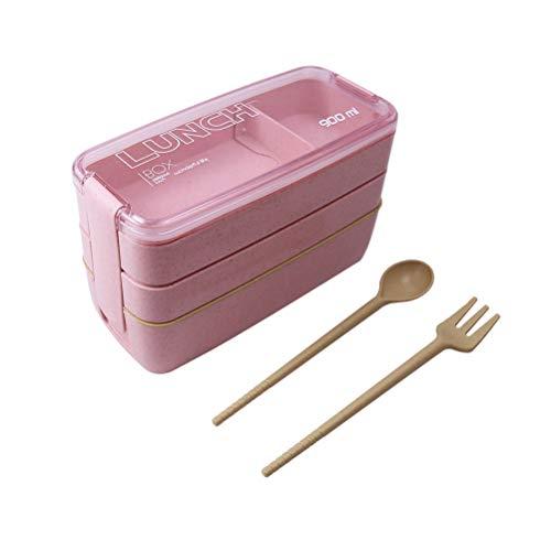 Lunchbox, Drie Verzegelde Bento Doos met Vork Lepel Office Organische School Lunch Doos Picknick, Toepasbaar in Magnetron Vaatwasser Afbreekbaar, BPA Gratis