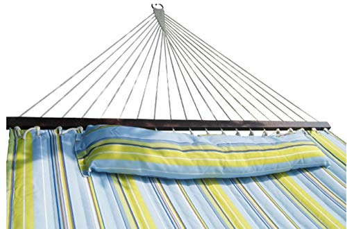 SueSport HC011-Blue(16-4020) Hammock Quilted Fabric with Pillow Double Size Spreader Bar H,...