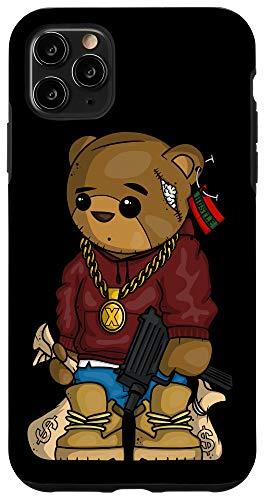 iPhone 11 Pro Max Hip Hop Teddy Bear with Gun Get Money Rap Music Lover Gift Case